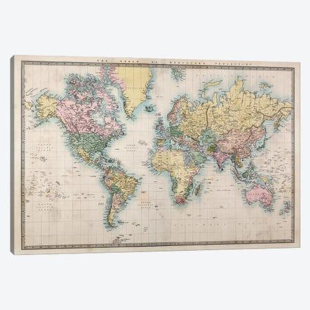 World Map, Detailed Map, Vintage Style Canvas Print #WDA2311} by WallDecorAddict Canvas Artwork