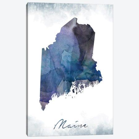 Maine State Bluish Canvas Print #WDA231} by WallDecorAddict Canvas Wall Art