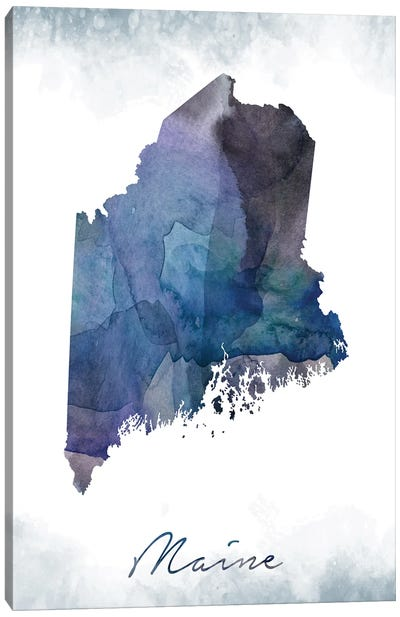 Maine State Bluish Canvas Art Print