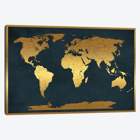 World Map Vintage Style Black Gold Canvas Print #WDA2329} by WallDecorAddict Art Print