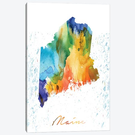 Maine State Colorful Canvas Print #WDA232} by WallDecorAddict Canvas Artwork