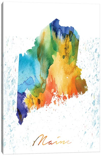 Maine State Colorful Canvas Art Print