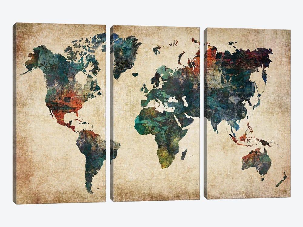 World Map Wall Decor Style by WallDecorAddict 3-piece Art Print