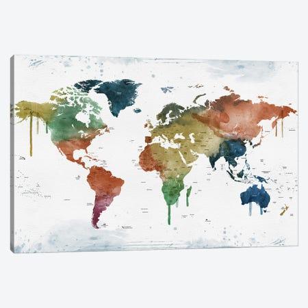 World Map Names Of Countries Canvas Print #WDA2337} by WallDecorAddict Canvas Art Print