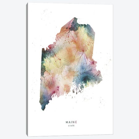 Maine State Watercolor Canvas Print #WDA233} by WallDecorAddict Canvas Art