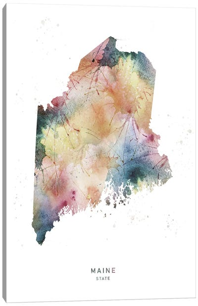 Maine State Watercolor Canvas Art Print