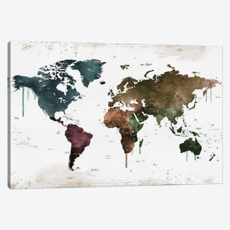 World Map Colorful Names Of Countries Canvas Print #WDA2340} by WallDecorAddict Art Print