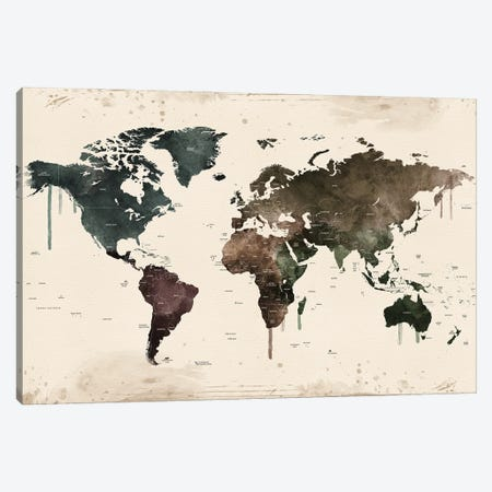 World Map With Names Canvas Print #WDA2341} by WallDecorAddict Art Print