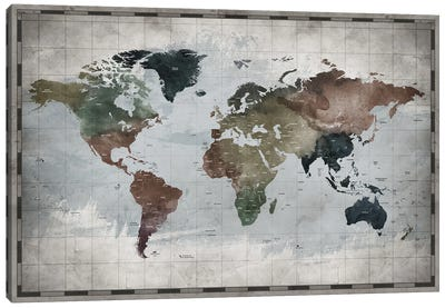 World Map With Country Names Canvas Art Print
