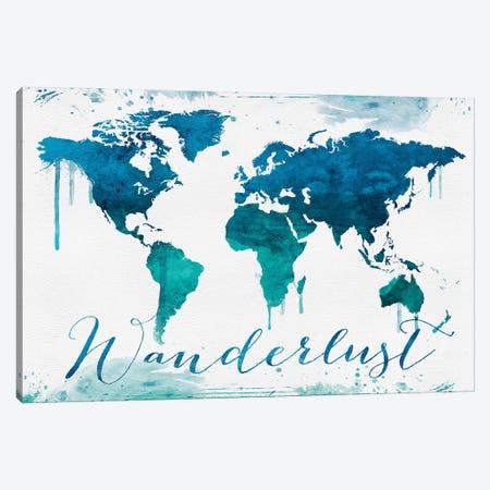 World Map Wanderlust Bluish Style Canvas Print #WDA2347} by WallDecorAddict Canvas Artwork