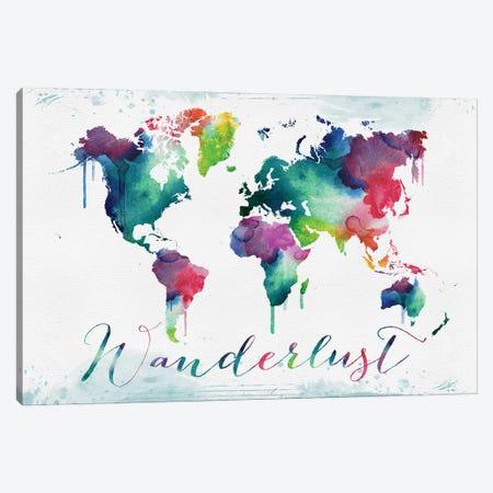 World Map Watercolor Wanderlust Canvas Print #WDA2348} by WallDecorAddict Art Print