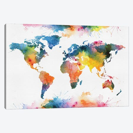 Colorful Style World Map Canvas Print #WDA2350} by WallDecorAddict Canvas Art