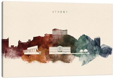 Athens Skyline Desert Style Canvas Art Print