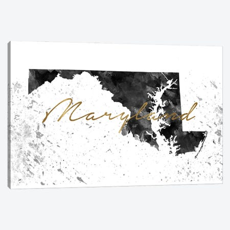 Maryland Black And White Gold Canvas Print #WDA235} by WallDecorAddict Canvas Print
