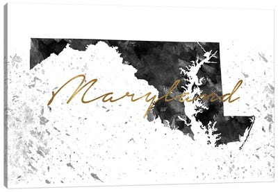 Maryland Black And White Gold Canvas Art Print