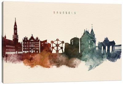 Brussels Skyline Desert Style Canvas Art Print