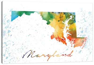 Maryland State Colorful Canvas Art Print