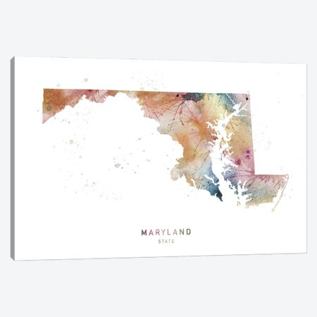 Maryland Watercolor State Map Canvas Print #WDA238} by WallDecorAddict Canvas Wall Art