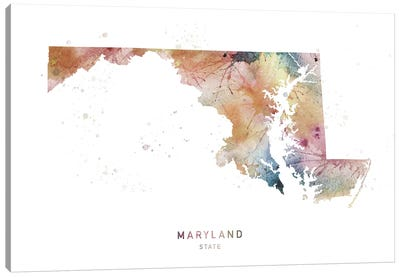 Maryland Watercolor State Map Canvas Art Print