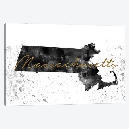 Massachusetts Black And White Gold Canvas Print #WDA240} by WallDecorAddict Canvas Print