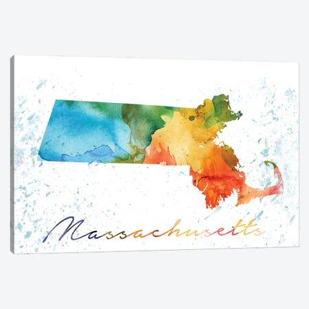 Massachusetts State Colorful Canvas Print #WDA242} by WallDecorAddict Canvas Print
