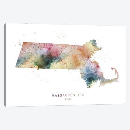 Massachusetts Watercolor State Map Canvas Print #WDA243} by WallDecorAddict Art Print