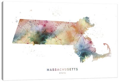 Massachusetts Watercolor State Map Canvas Art Print