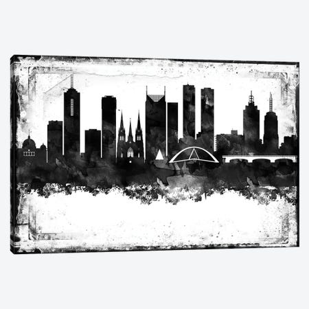 Melbourne Black And White Framed Skylines Canvas Print #WDA245} by WallDecorAddict Canvas Wall Art
