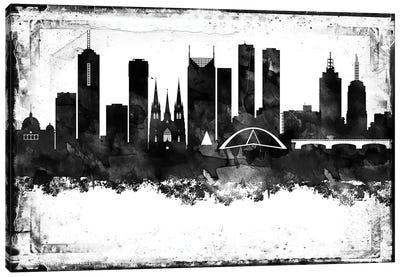 Melbourne Black And White Framed Skylines Canvas Art Print
