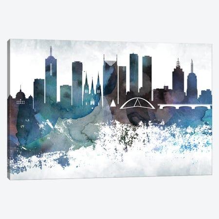 Melbourne Bluish Skylines Canvas Print #WDA246} by WallDecorAddict Canvas Artwork