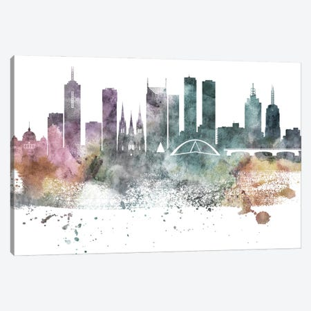 Melbourne Pastel Skylines Canvas Print #WDA247} by WallDecorAddict Canvas Wall Art