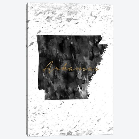 Arkansas Black And White Gold Canvas Print #WDA24} by WallDecorAddict Canvas Wall Art