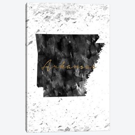 Arkansas Black And White Gold Canvas Print #WDA24} by WallDecorAddict Canvas Wall Art