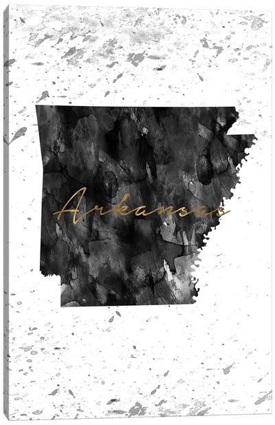Arkansas Black And White Gold Canvas Art Print