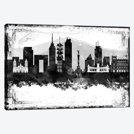 Mexico City Black And White Framed Skylines Canvas Print #WDA250} by WallDecorAddict Canvas Art