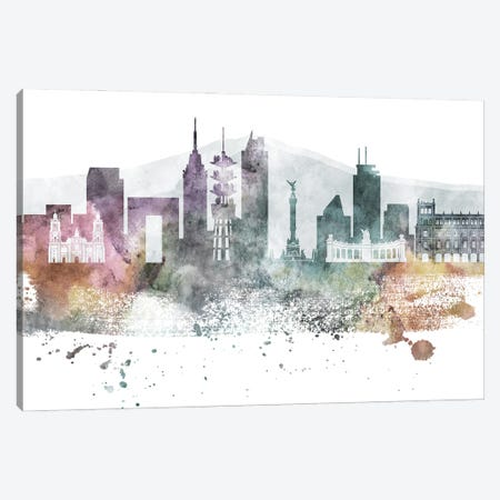 Mexico City Pastel Skylines Canvas Print #WDA251} by WallDecorAddict Canvas Artwork