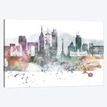 Mexico City Pastel Skylines Canvas Print #WDA251} by WallDecorAddict Canvas Artwork