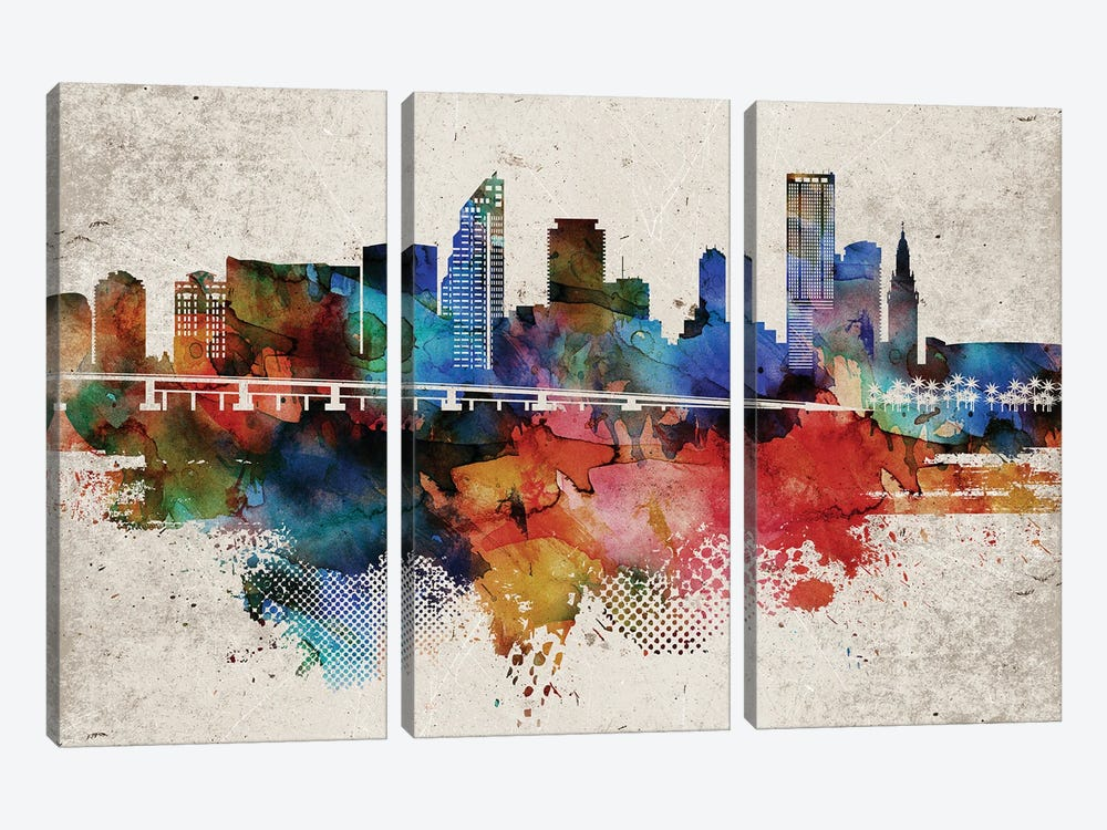 Miami Abstract by WallDecorAddict 3-piece Canvas Artwork