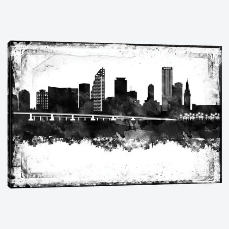 Miami Black And White Framed Skylines Canvas Print #WDA254} by WallDecorAddict Art Print