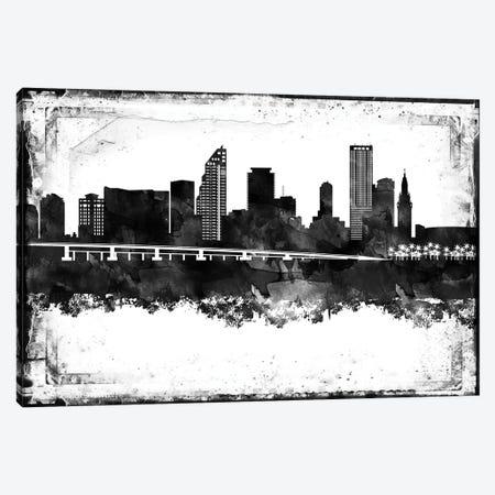 Miami Black And White Framed Skylines Canvas Print #WDA254} by WallDecorAddict Art Print