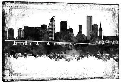 Miami Black And White Framed Skylines Canvas Art Print