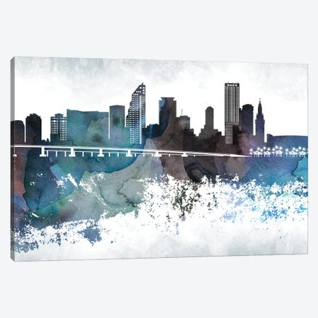 Miami Bluish Skylines 3-Piece Canvas #WDA255} by WallDecorAddict Canvas Print
