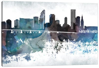 Miami Bluish Skylines Canvas Art Print
