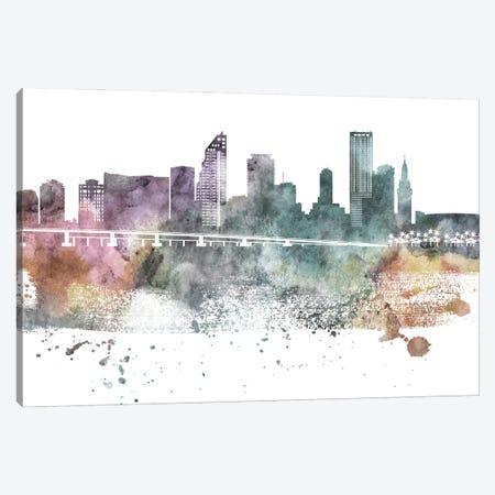 Miami Pastel Skylines Canvas Print #WDA256} by WallDecorAddict Canvas Art Print