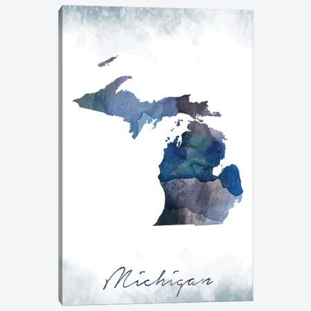 Michigan State Bluish Canvas Print #WDA258} by WallDecorAddict Canvas Artwork