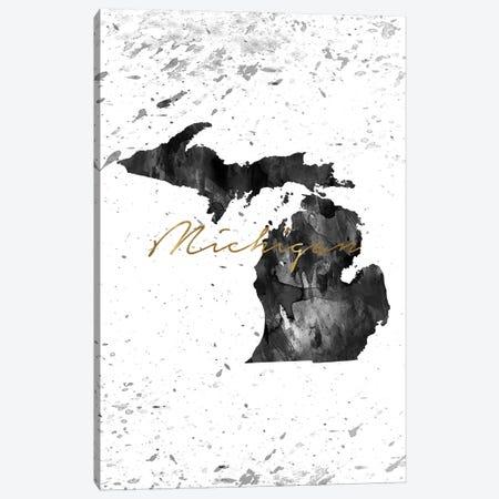 Michigan Black And White Gold Canvas Print #WDA261} by WallDecorAddict Canvas Art Print