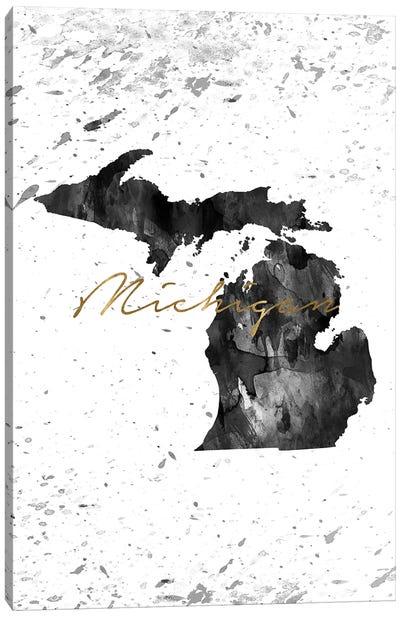 Michigan Black And White Gold Canvas Art Print
