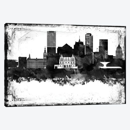 Milwaukee Black And White Framed Skylines Canvas Print #WDA263} by WallDecorAddict Art Print
