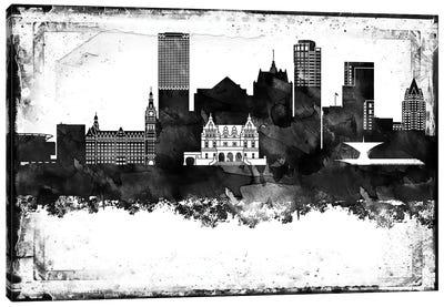 Milwaukee Black And White Framed Skylines Canvas Art Print