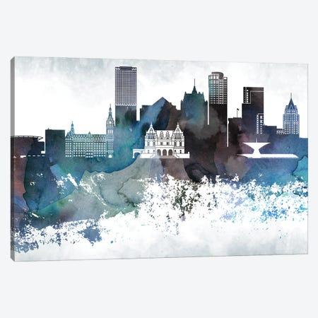 Milwaukee Bluish Skylines Canvas Print #WDA264} by WallDecorAddict Canvas Art